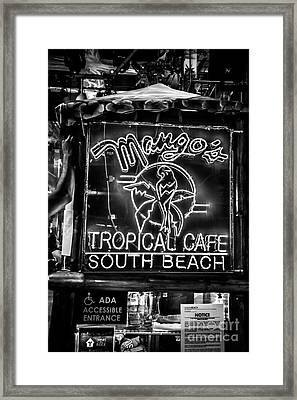 Leaning On Mango's South Beach Miami - Black And White Framed Print