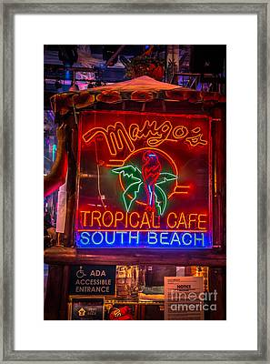 Leaning On Mango's South Beach Miami - Hdr Style Framed Print