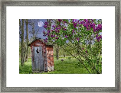 Leaning Outhouse Framed Print by David Simons