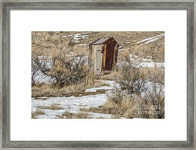 Leaning Outhouse Framed Print by Sue Smith