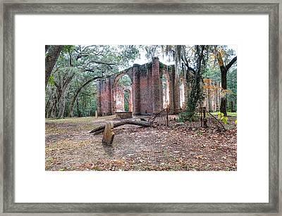 Leaning Tomb - Old Sheldon Church Ruins Framed Print