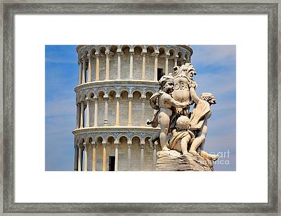 Leaning Tower And Sculpture Framed Print