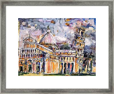 Leaning Tower Of Pisa Italy  Framed Print by Ginette Callaway