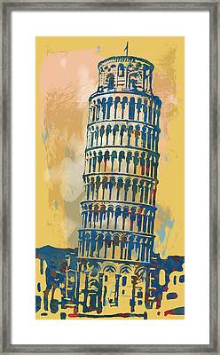 Leaning Tower Of Pisa  - Pop Stylised Art Poster   Framed Print by Kim Wang