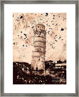 Leaning Tower Of Pisa Sepia Framed Print