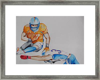 Leap To The Finish Framed Print