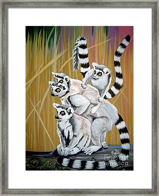 Framed Print featuring the painting Leapin Lemurs by Phyllis Kaltenbach