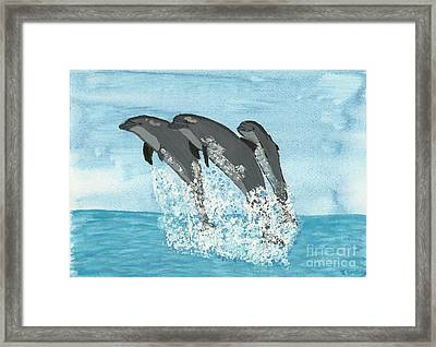 Leaping Dolphins Framed Print by Tracey Williams
