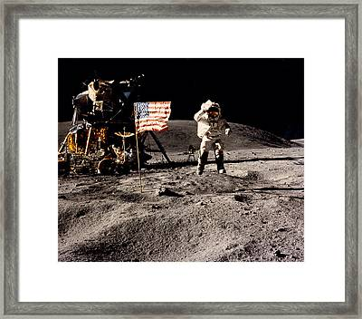 Leaping Lunar Flag Salute Framed Print by Underwood Archives