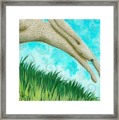Leaping Rabbit Framed Print by Aprille Lipton