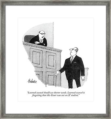 Learned Counsel Should Use Shorter Words. Learned Framed Print