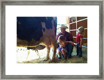 Learning How To Get Milk Framed Print
