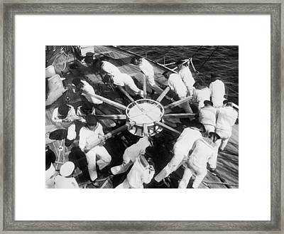 Learning Naval Teamwork Framed Print by Underwood Archives