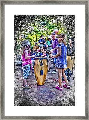 Learning The Drums Young Framed Print by John Haldane
