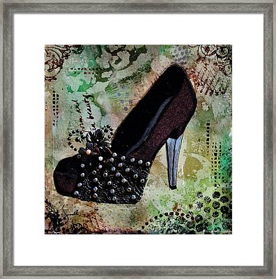 Leather And Lace Shoes With Abstract Background Framed Print