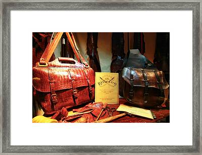 Leather Bags And Fashion Framed Print