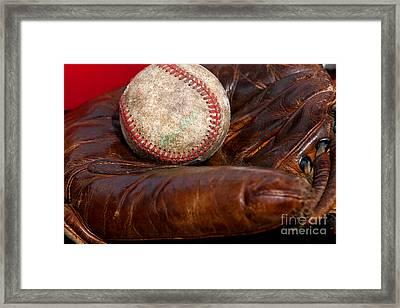 Leather Glove And Baseball Framed Print