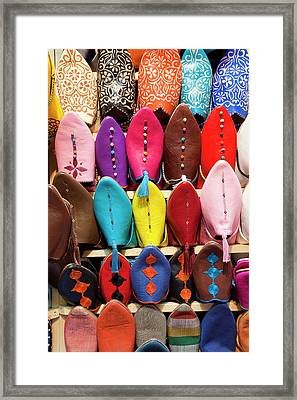 Leather Slippers For Sale In The Souk Framed Print by Peter Adams