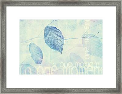 Leaves In Blue Ginger Contemporary Art Print Framed Print