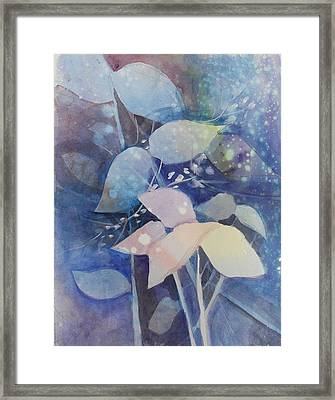Leaves In Blue  Framed Print