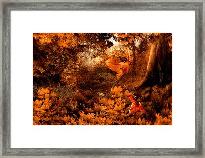 Leaves Of Gold Framed Print by Lourry Legarde