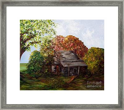 Framed Print featuring the painting Leaves On The Cabin Roof by Eloise Schneider