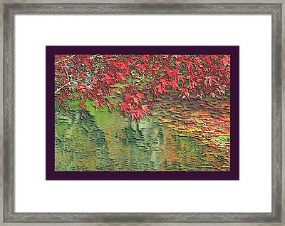 Leaves On The Creek 3 With Small Border 3 Framed Print by L Brown