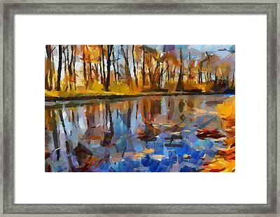 Leaves On The River Framed Print by Yury Malkov
