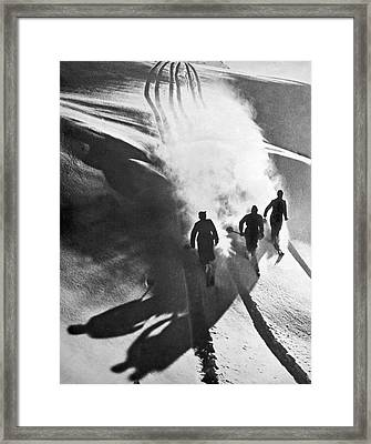 Leaving A Powder Trail Framed Print by Underwood Archives
