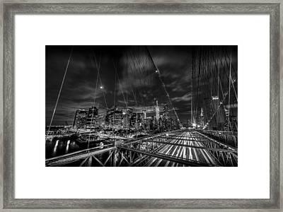 Leaving New York City Via The Brooklyn Bridge Black And White Framed Print