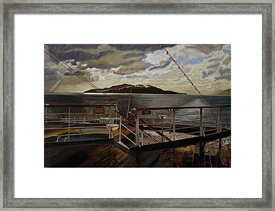 Leaving Queen Charlotte Sound Framed Print by Thu Nguyen