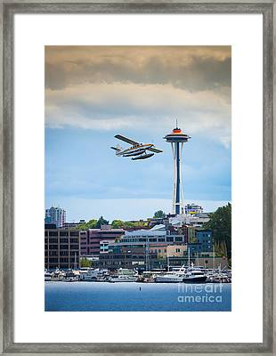 Leaving Seattle Framed Print by Inge Johnsson