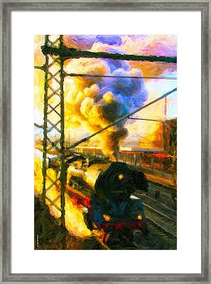 Framed Print featuring the digital art Leaving The Station by Chuck Mountain
