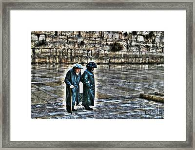 Framed Print featuring the photograph Leaving The Western Wall In Israel by Doc Braham
