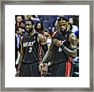 Lebron James And Dwyane Wade Framed Print by Florian Rodarte