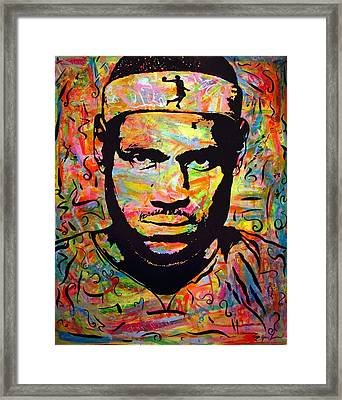 Lebron James Framed Print by Jean P Losier