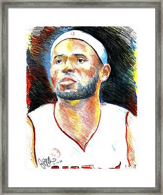 Lebron James  Framed Print by Jon Baldwin  Art
