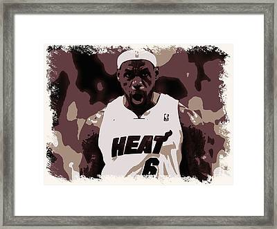 Lebron James Victory Celebration Framed Print by Florian Rodarte