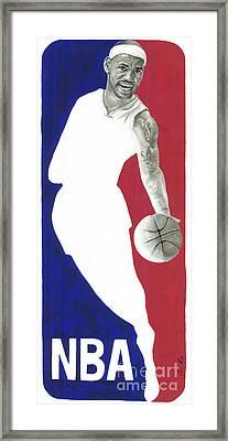 Lebron Nba Logo Framed Print by Tamir Barkan