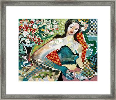 Lectrice Et Fleurs - Girl Reading And Flowers Framed Print by Marcio Melo
