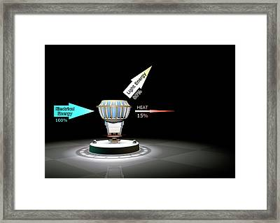 Led Light Bulb Efficiency Framed Print by Animate4.com/science Photo Libary