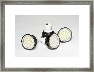 Led Light Bulbs Framed Print by Science Photo Library