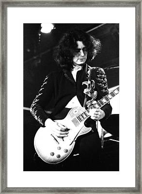 Led Zeppelin Jimmy Page 1972 Framed Print by Chris Walter