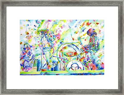 Led Zeppelin Live Concert - Watercolor Painting Framed Print