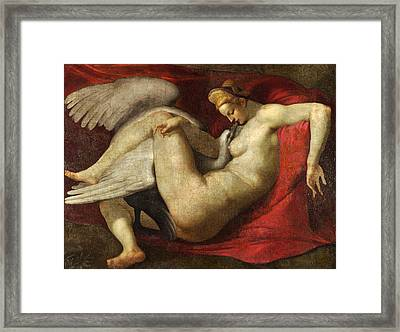 Leda And The Swan Framed Print by After Michelangelo
