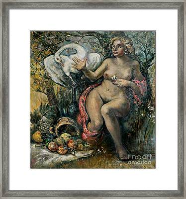 Leda And The Swan Framed Print by Danilo