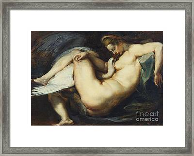Leda And The Swan Framed Print by Rubens