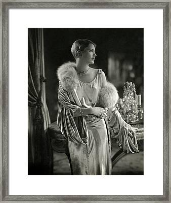 Lee Miller Wearing An Evening Gown Framed Print by Edward Steichen