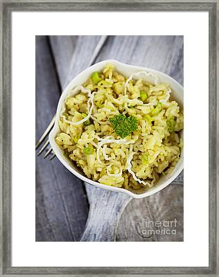 Leek Risotto Framed Print by Mythja  Photography