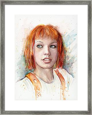 Leeloo Portrait Multipass The Fifth Element Framed Print by Olga Shvartsur